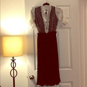 Chic business white and black long dress